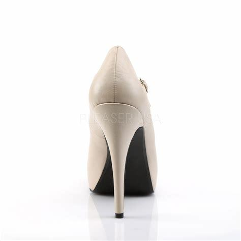 Cream Faux Leather Mary Jane Pumps rear view