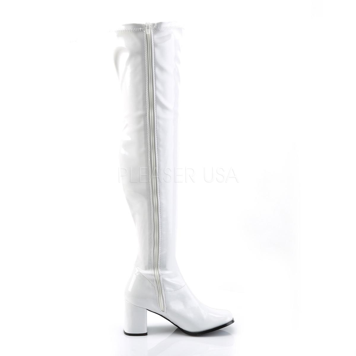 Gogo Patent Thigh Boot white