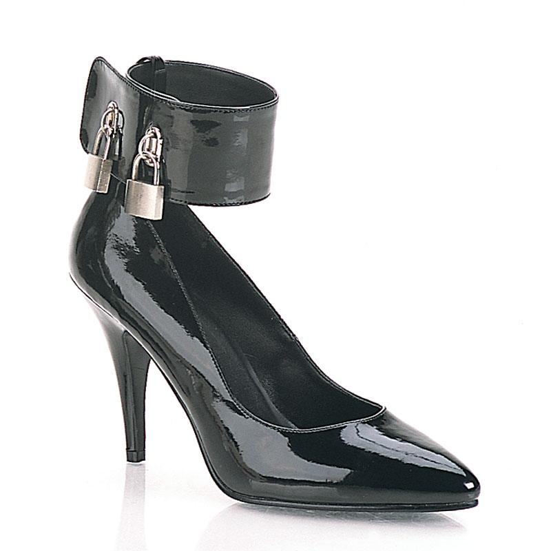 Black Patent Court Shoe with cuff