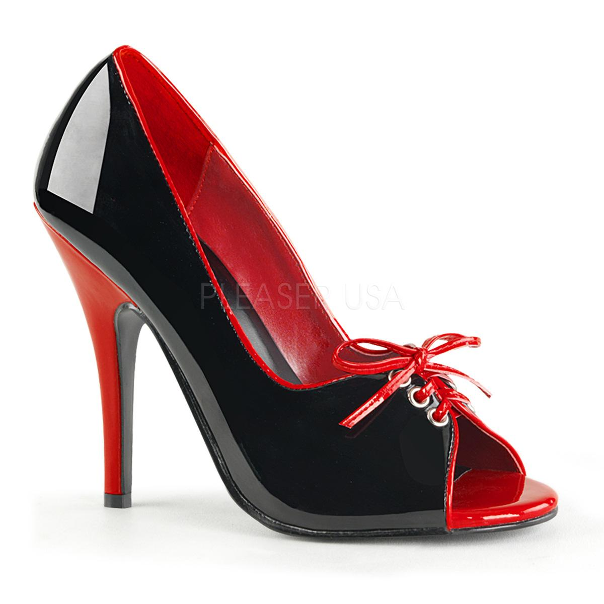 Black/Red Patent Peep Toe Stiletto