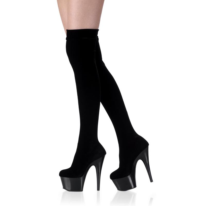 Black Velvet Thigh Boots