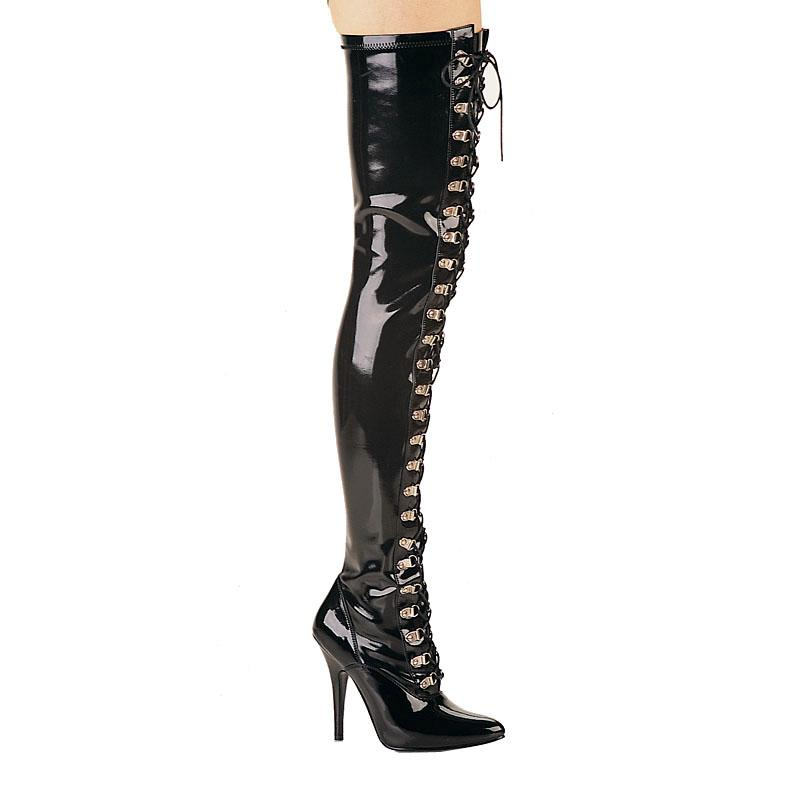 Lace Up Black Patent Thigh Boots