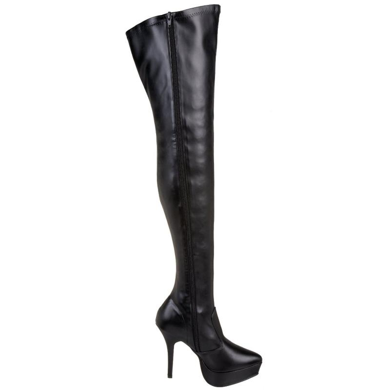 Black Matt PU Thigh Boot
