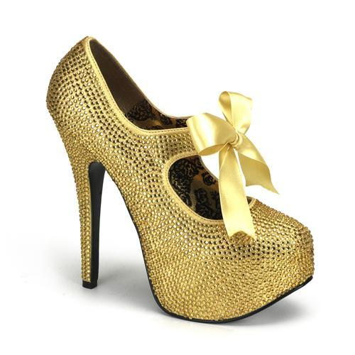 Gold Rhinestone Mary Jane Shoe