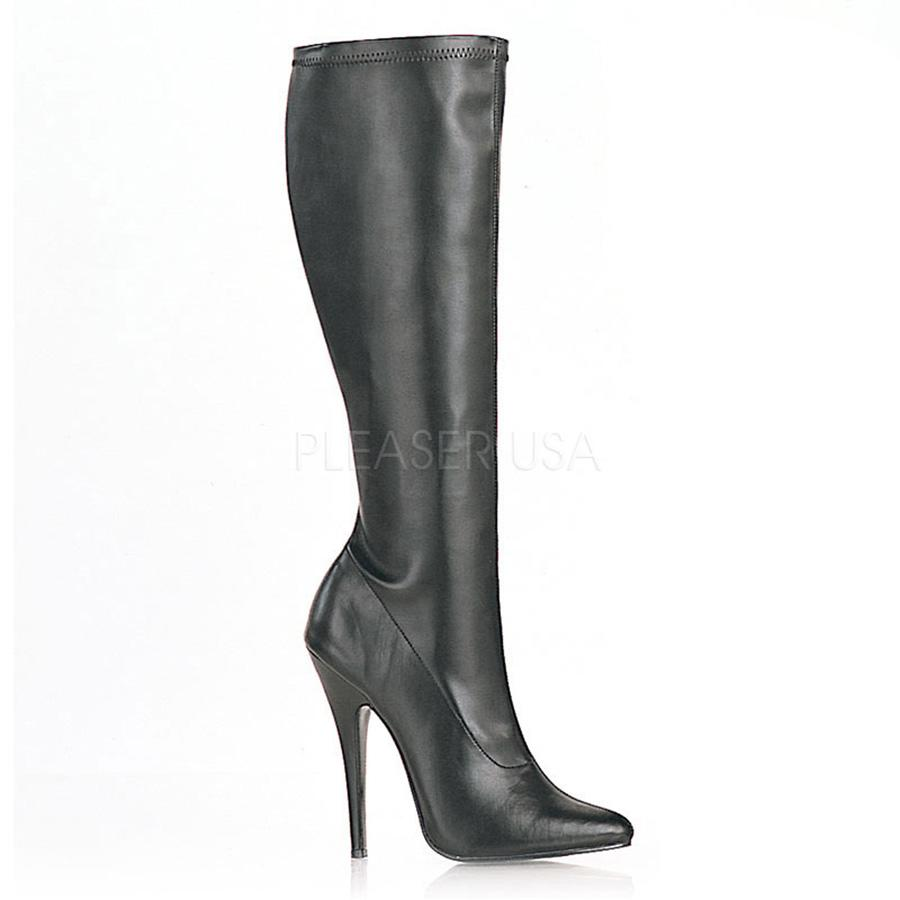 Black Matt PU Stiletto Knee Boots
