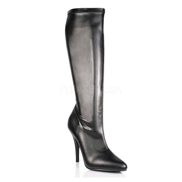 Matt Black PU Knee Boots