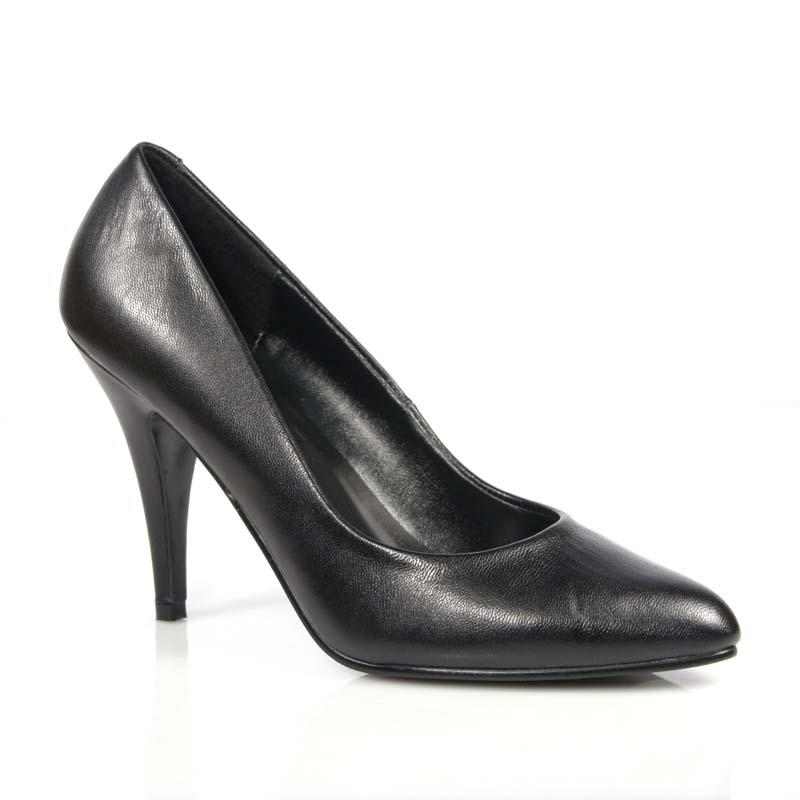 Black Leather Court Shoe