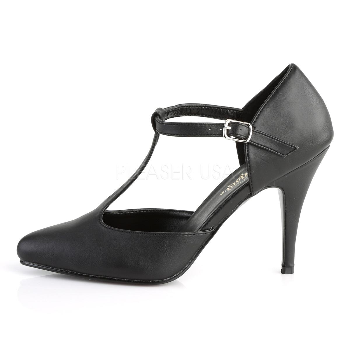 Black Faux Leather D'Orsay style T-strap Pumps