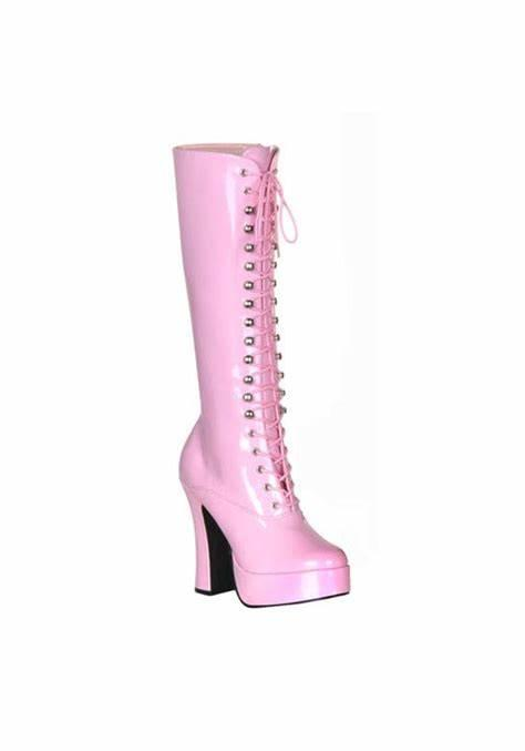Baby Pink Patent Chunky Knee Boot