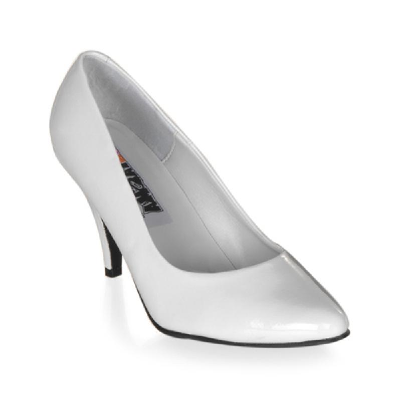 Large fitting white patent court shoe