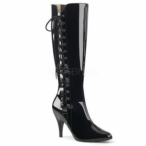 Black Patent Stiletto Knee Boots outside lace tie