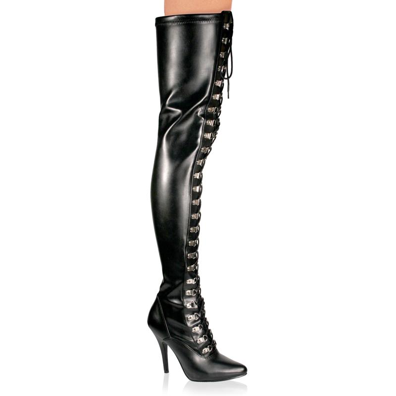 Lace Up Faux Leather Thigh Boot