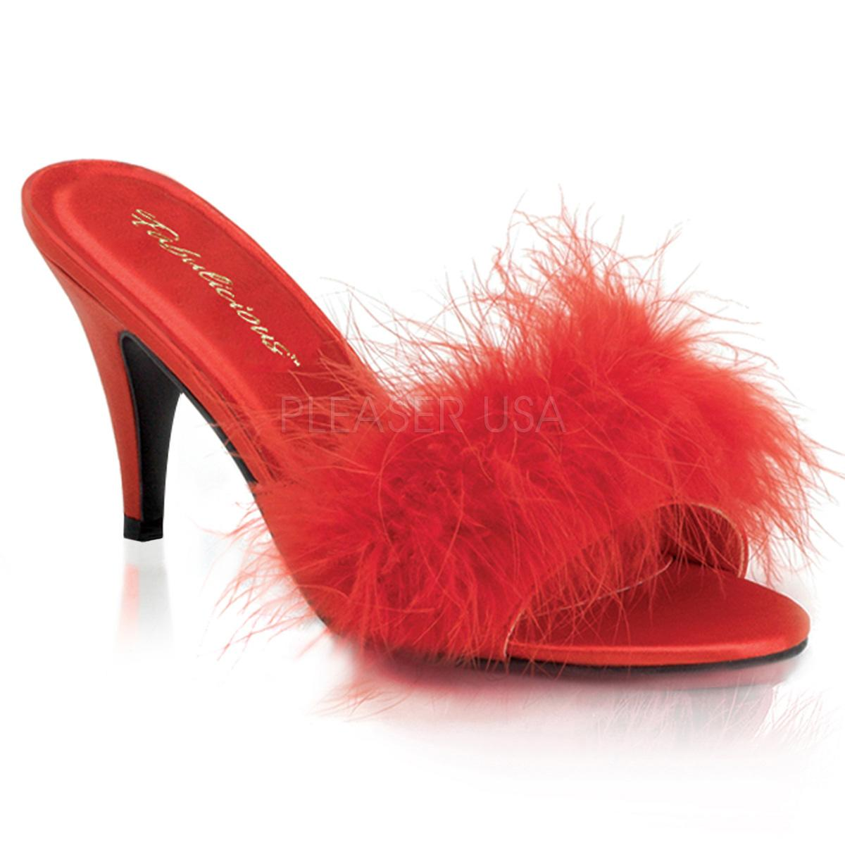 Red Satin Marabou Slipper