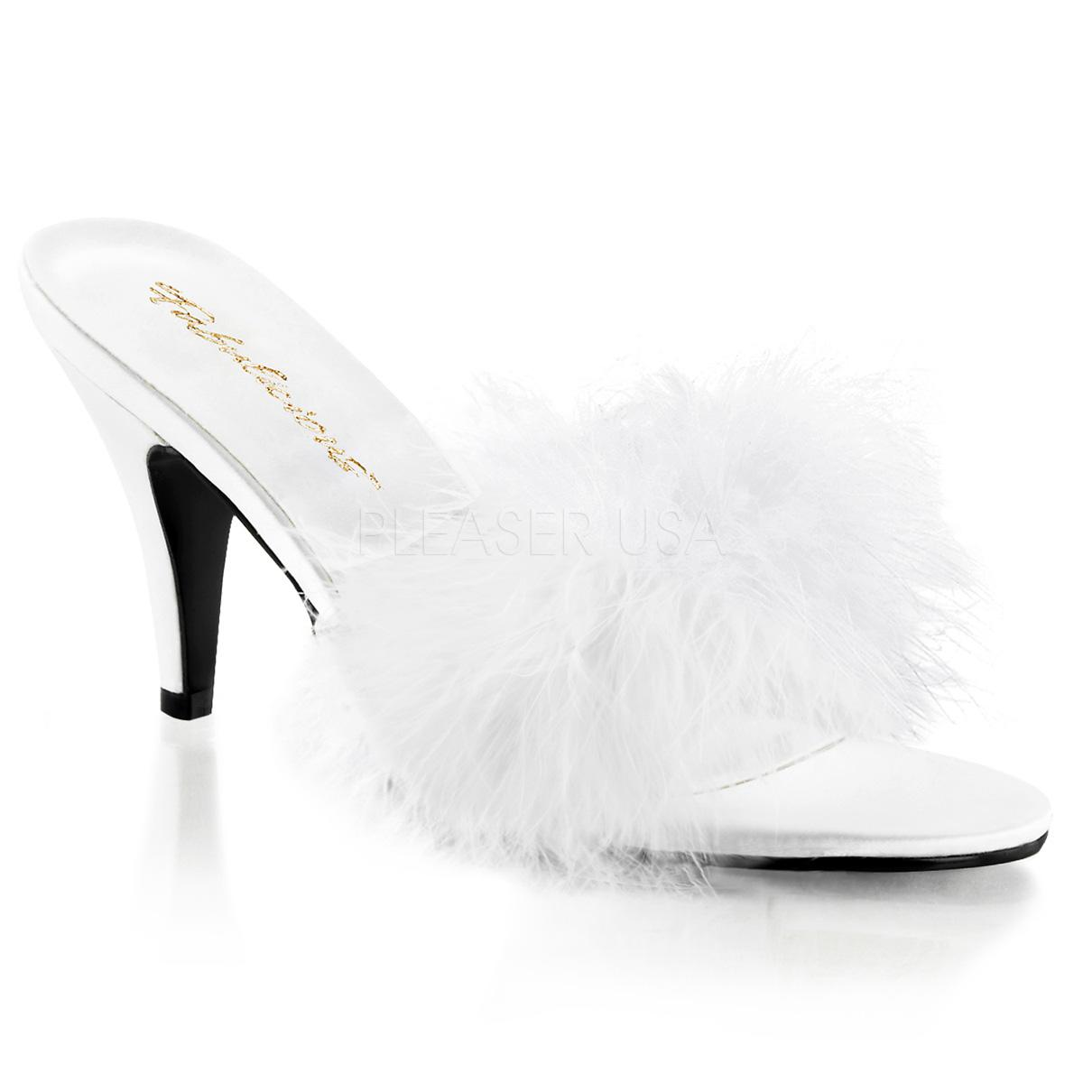 White Satin Marabou Slipper