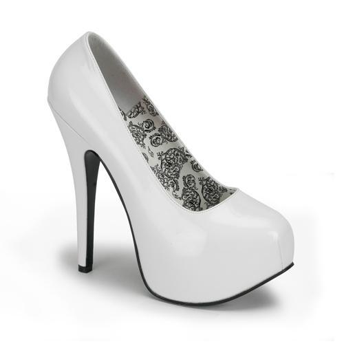 White Patent Court Shoe