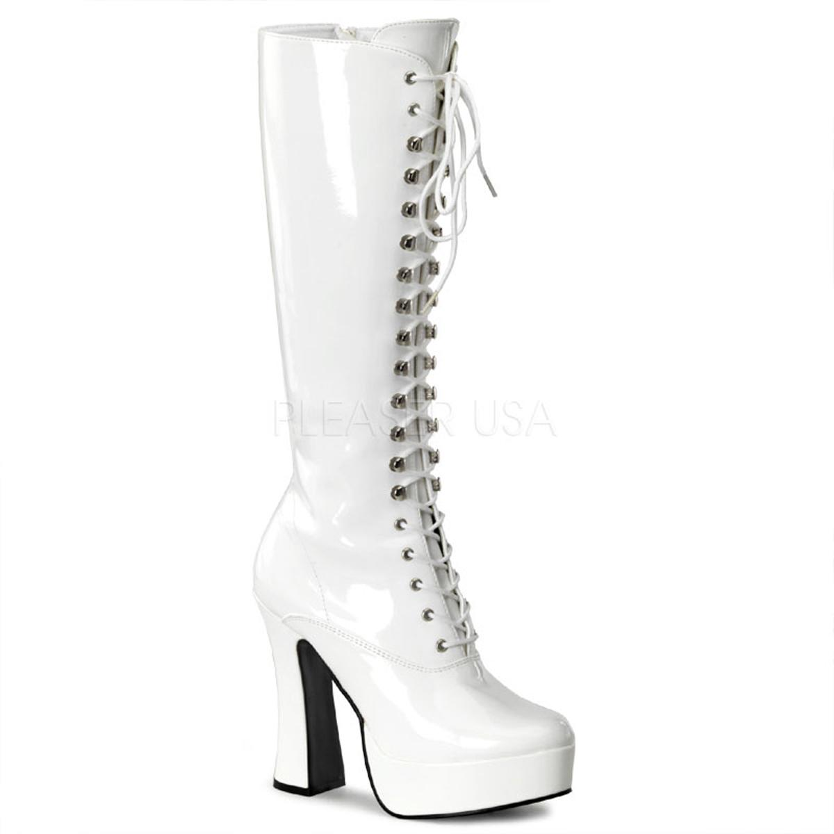 White Patent Chunky Knee Boot