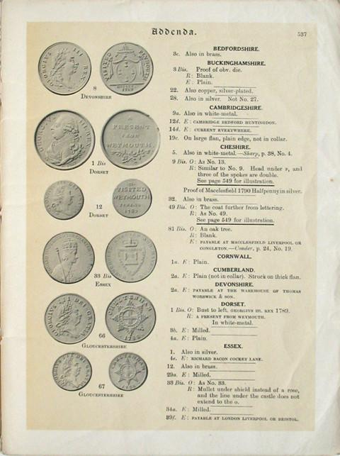 The Provincial Token Coinage of the 18th Century. Part ?:  Addenda, Corrigenda.