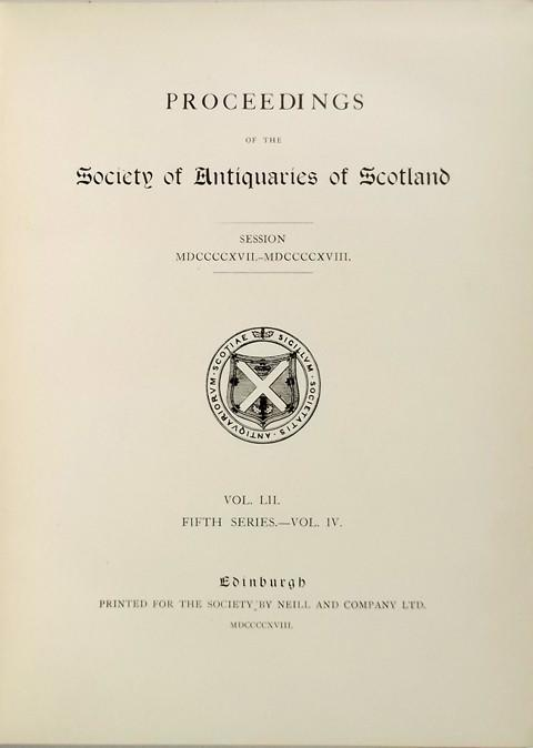 Proceedings of the Society of Antiquaries of Scotland 1917-18