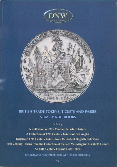 8 Nov, 2007.  DNW 75.  British Trade Tokens, Tickets and Passes, Numismatic Books.