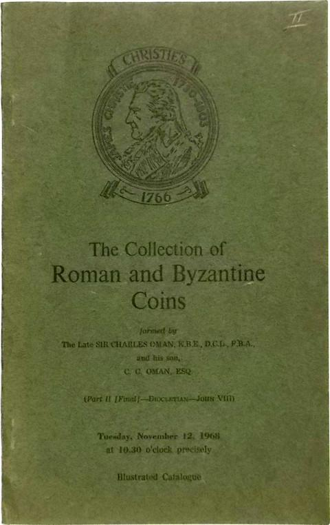 12 Nov, 1968.  Sir Charles Oman.  Roman and Byzantine coins.
