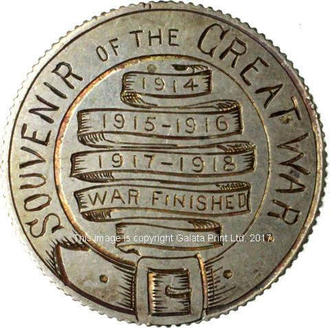 END OF WW1 ENGRAVED COIN