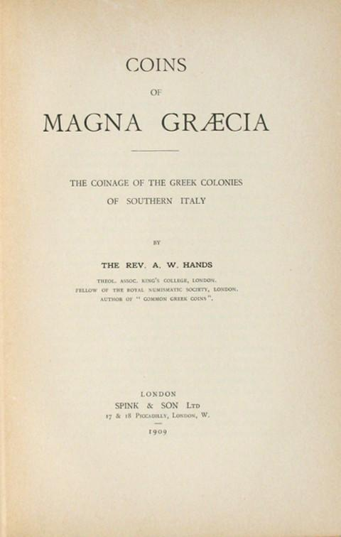 Coins of Magna Graecia.  The Coinage of the Greek Colonies of Southern Italy.