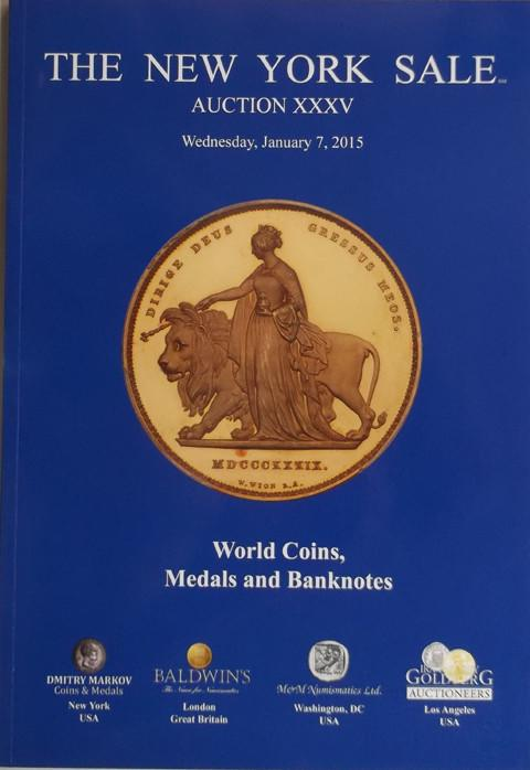 The New York Sale.  Auction XXXV. 7 Jan 2015. World coins, Medals and Banknotes.