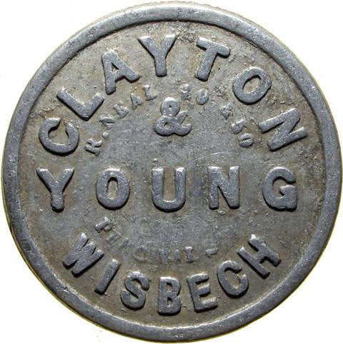 Farm token. Clayton & Young, Wisbech.
