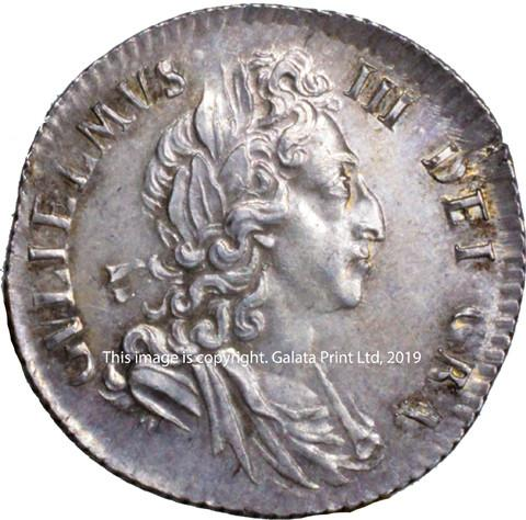 WILLIAM III, Sixpence, third bust, 1697.