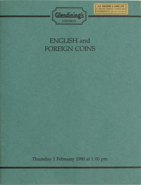 1 Feb, 1990 English and foreign coins.
