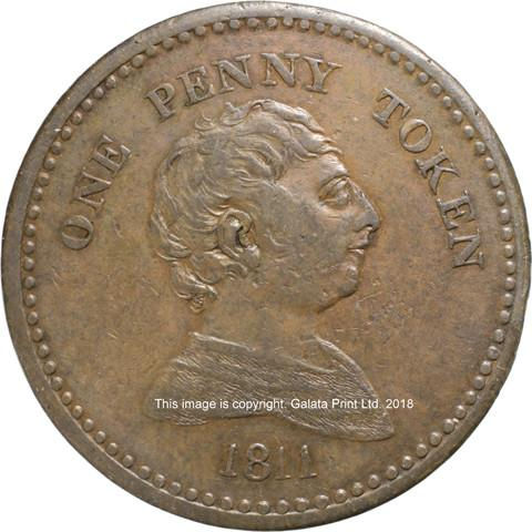 BRISTOL.  Anonymous City issue, Penny token 1811