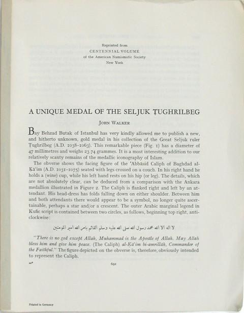 A Unique Medal of the Seljuk Tughrilbeg.