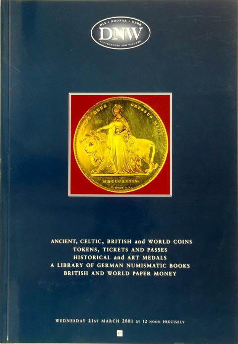 21 Mar 2001  DNW 49.   Ancient, Celtic, British and World coins, tokens, medals, books, etc.