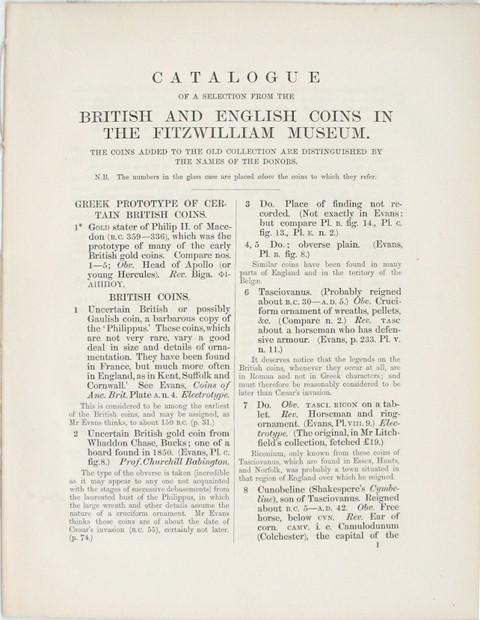 Catalogue of a Selection from the British and English Coins in the Fitzwilliam Museum. The coins added to the Old Collection are distinguished by the names of the Donors.