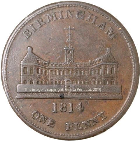 BIRMINGHAM, Workhouse.  Penny token 1814.