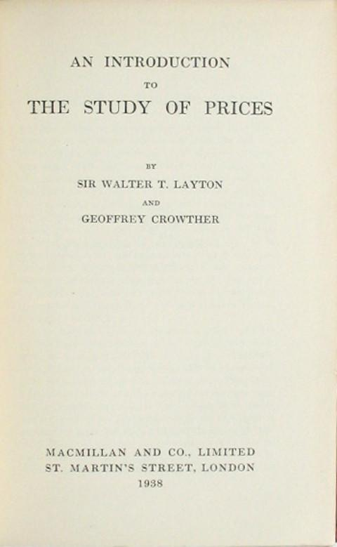 An Introduction to the Study of Prices.