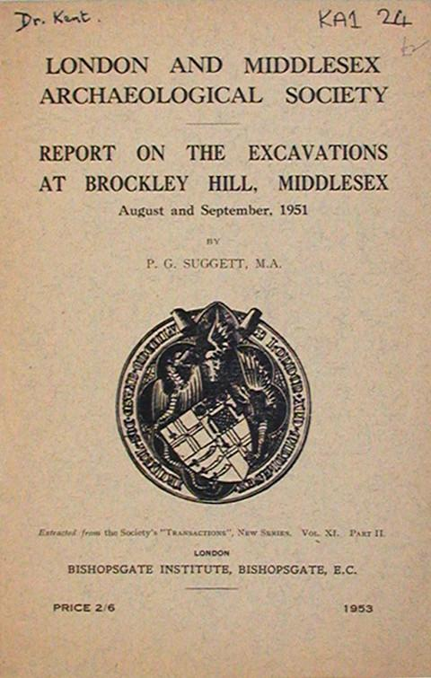 Report on Excavations at Brockley Hill, Middx. 1951.