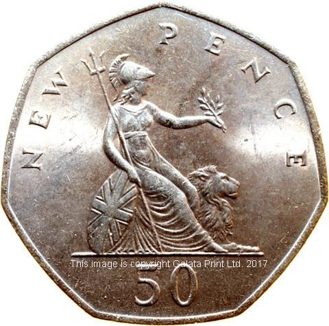 ELIZABETH II (1953-)  Fifty New Pence, 1969.