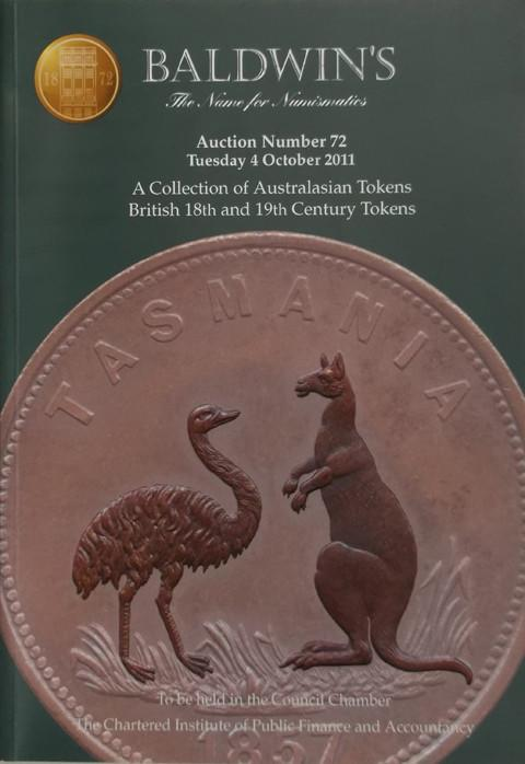 Baldwins Auctions.  No 72. 4 Oct 2011. Australasian Tokens. British 18th and 19th Century tokens.