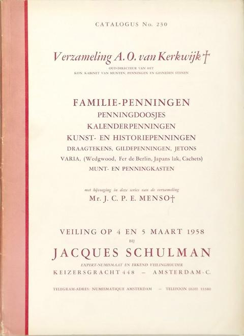 4 March. 1958  Jacques Schulman, Amsterdam.  Sale 230.