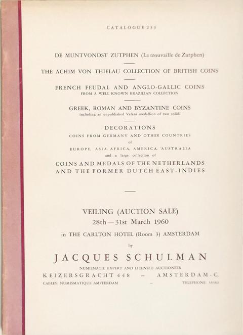 28-31 March 1960.  J Schulman, Amsterdam.  Sale No 233