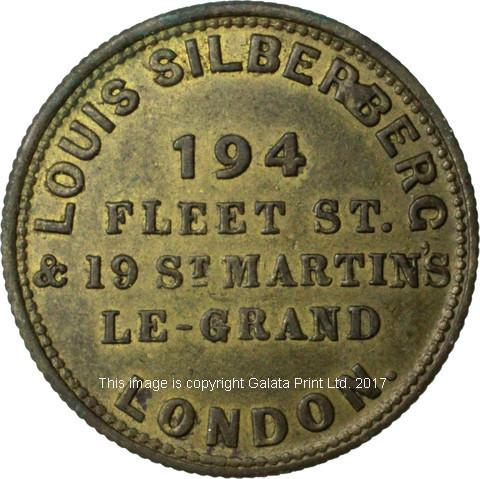 London, farthing token, Louis Silberberg. Seller of cigars, snuff and tobacco.