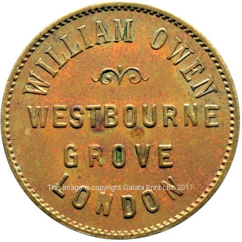 London, farthing token.  William Owen, linen drapers, outfitters and silk mercers, Westbourne Grove.