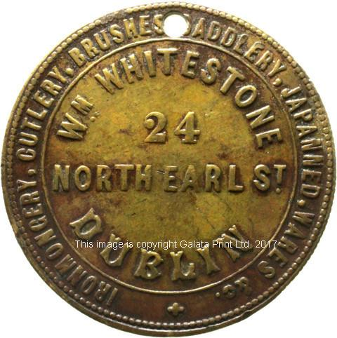 DUBLIN advertising ticket. William Whitestone, Nporth Earl Street. Ironmongery, cutlery, saddlery &c.