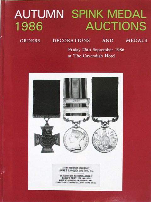 Spink Autumn 1986  Orders, Decorations and Medals.