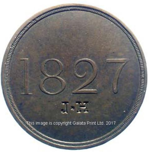 LANCASHIRE Truck Token.  Three pence, 1827.