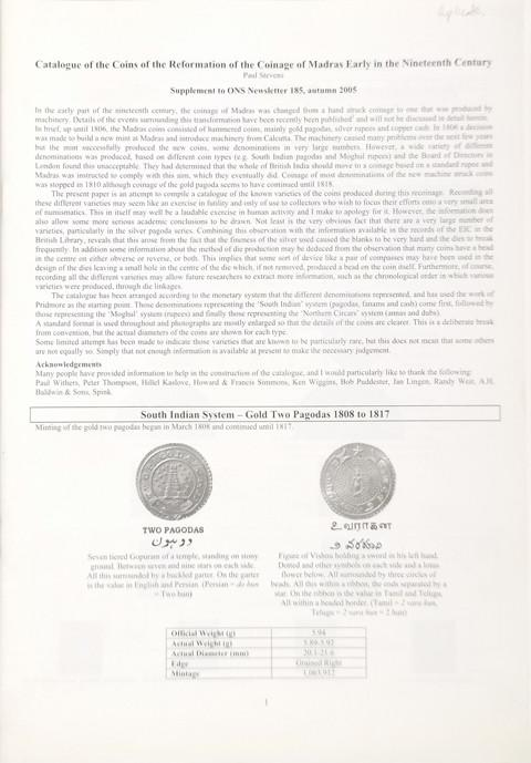 Catalogue of the coins of the reformation of the coinage of Madras early in the nineteenth century