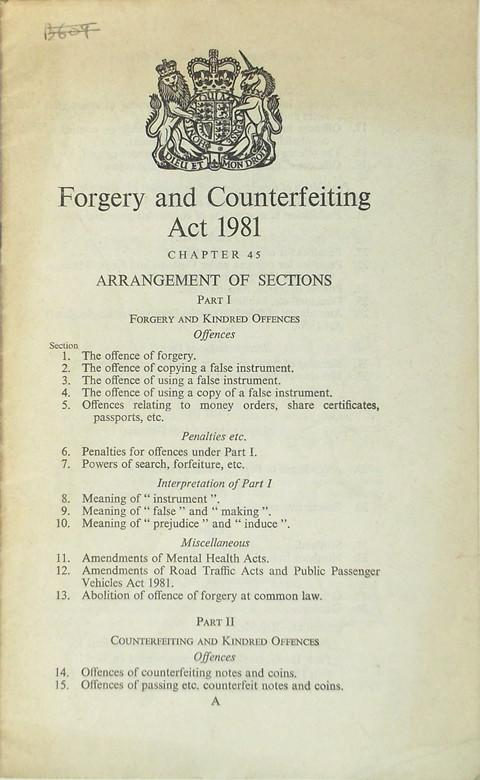 Forgery and Counterfeiting Act 1981