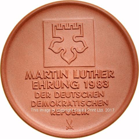 GERMANY 500th Anniversary. Martin Luther Porcelain Thaler-size Commemorative medal, 1983.