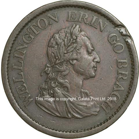 IRELAND [Non-local]. Penny token 1822. Wellington Erin Go Bragh.